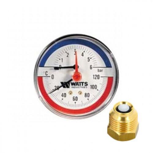 "WATTS Термоманометр TMAX 1/2"" 120 С, 6 бар, задн. подкл., отсек. клапан в комплекте"