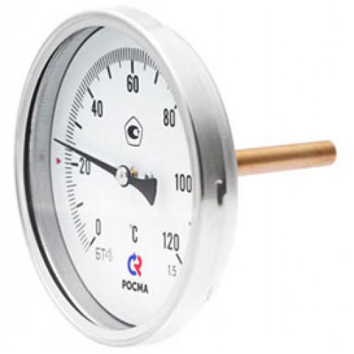 РОСМА Термометр БТ-51.211 (0 - 120°С) 100 мм, задн. подкл. G1/2, шток 100 мм, класс 1.5