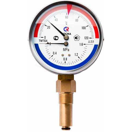 РОСМА Термоманометр ТМТБ-31Р.1 (0 - 120°С) (0 - 1,0 MPa) 80 мм, нижн. подкл. G1/2, шток 46 мм, класс 2.5