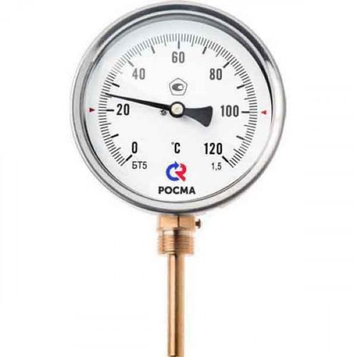 РОСМА Термометр БТ-52.211 (0 - 120°С) 100 мм, нижн. подкл. G1/2, шток 64 мм, класс 1.5