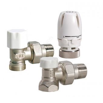 Комплект угловой 1/2'': термоголовка, клапан термостатический, клапан настроечный